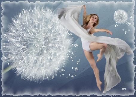 Анимация Девушка-блондинка в белом платье в позе балерины на фоне одуванчика by Sofia