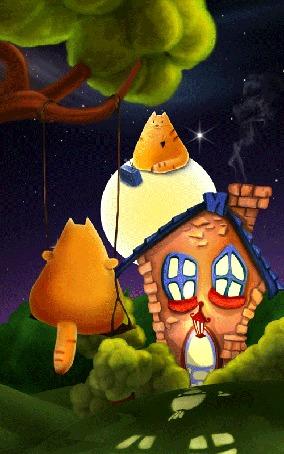 Анимация Рыжий кот катается на качели под музыку из приемника, с которым другой рыжий кот сидит на Луне