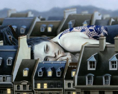 Анимация Девушка лежит среди маленьких домов, by Tran Nguyen