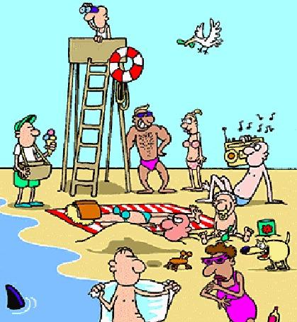 Анимация Люди отдыхают на пляже