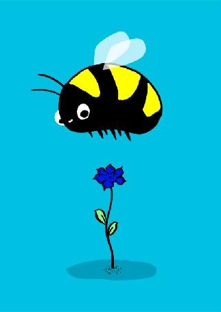 Анимация Оса садится на цветок, который падает на землю вместе с ней