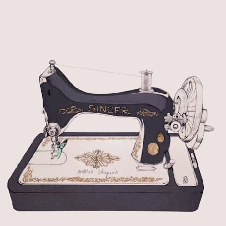 Анимация Старенькая швейная машинка шьет бабочек