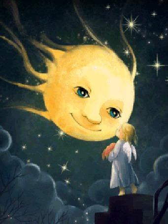 Анимация Маленькая девочка-ангел стоит на трубе и смотрит на луну с с зелеными глазами, на фоне звездного неба