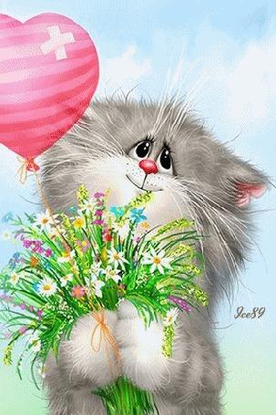 Анимация Серая кошка с букетом полевых цветов и воздушным шаром в виде сердечка в лапах, by Ясе89