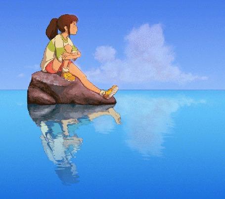 Анимация Тихиро Огино / Chihiro Ogino из аниме Унесенные призраками / Sen to Chihiro no Kamikakushi сидит на камне в окружении воды