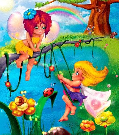 Анимация Две девочки-ангела, одна сидит на сухой ветке дерева, другая качается на качели, привязанной к этой ветке, на фоне дерева, радуги, цветов, божьей коровки, улитки и небольшого водоема