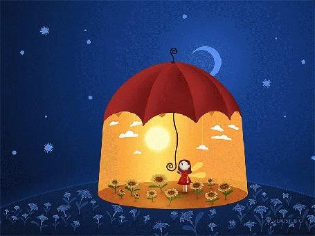 Анимация Девочка в шатре под крышей зонтика на поляне, происходит переход с ночи на день