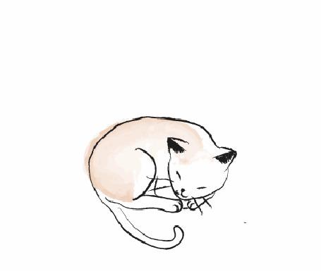 Анимация Спящий рисованный кот