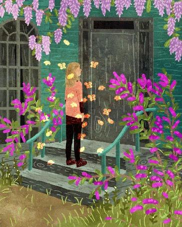 Анимация Девушка в облаке бабочек стоит перед закрытой дверью старого дома, by Manadhiel