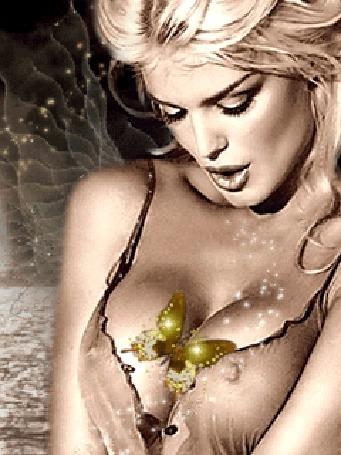 Анимация Блондинка с длинными волосами с бабочкой на груди