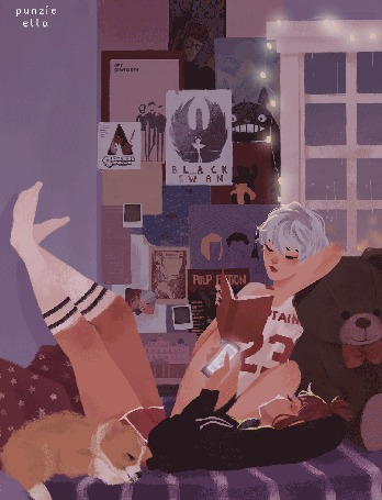 Анимация Две девушки на кровати:одна читает книжку, другая играет в телефоне, рядом спит пес, by punziella