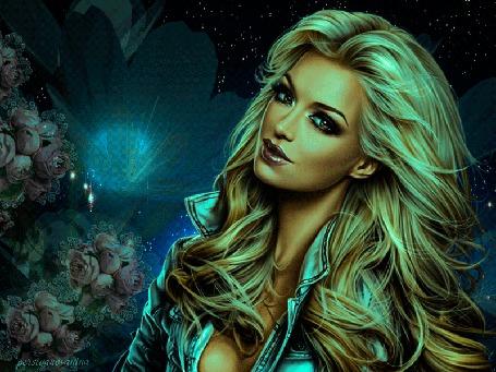 Анимация Блондинка на фоне цветов и бликов