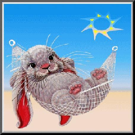 Анимация Серый кролик лежит в гамаке под солнцем