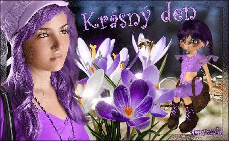 Анимация Девушка с сиреневыми волосами в сиреневой одежде, на фоне крокусов и девочки в сиреневом платье (Krasny den), by chmyrinka