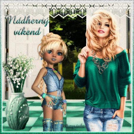 Анимация Две девушки блондинки, одна в зеленой кофточке и джинсах, другая в топе и шортиках на фоне ландышей в вазе (Nadherny wkend) by chmyrinka