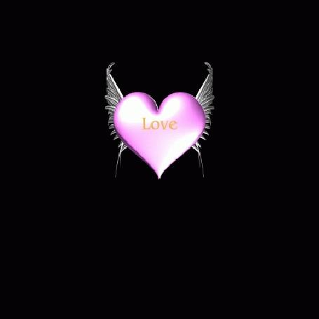 Анимация Розовое сердечко с крыльями (Love)