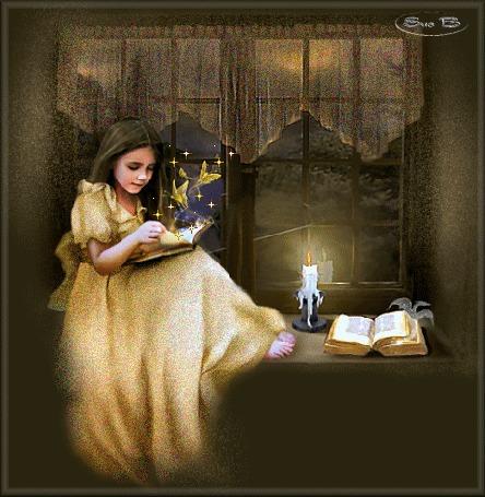 Анимация У девочки из книги вылетают ангелы