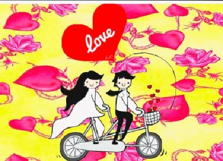 Анимация Девушка и парень едут на велосипеде на фоне сердечек (love)