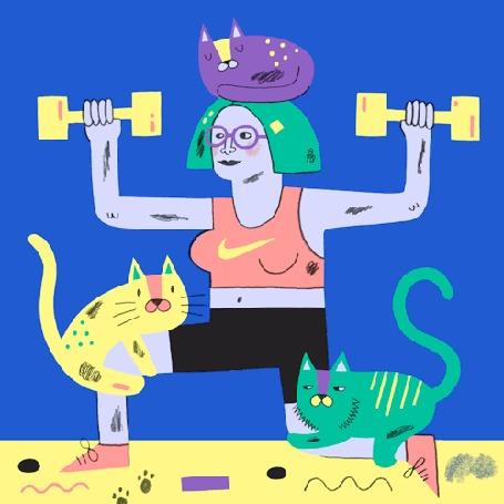 Анимация Девушка с зелеными волосами, в очках, с фиолетовой кошкой на голове поднимает желтые гантели, на колене сидит желтая кошка, а рядом машет хвостом зеленая кошка, кошки гоняют мышь, которая появляется из норки