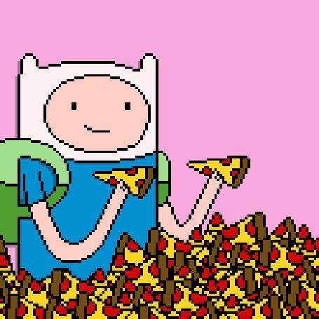 Анимация Финн наслаждается пиццей, мультсериал Adventure Time / Время Приключений
