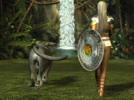 Анимация Девушка с длинными волосами с мечом и щитом в руках рядом с львицей идут к водопаду, виднеющемуся вдали