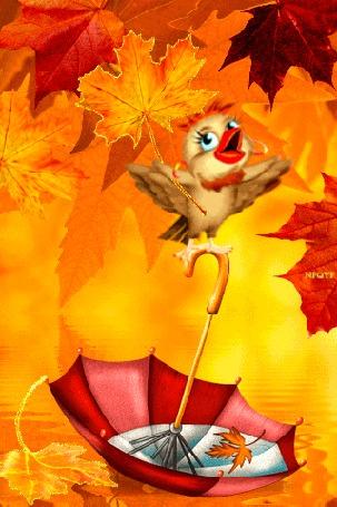 Анимация Птичка с желтым листом в крыле, поет песню, сидя на раскрытом зонтике, который плавает на воде