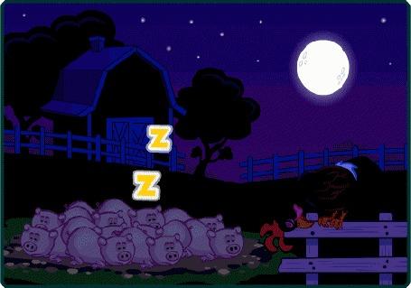 Анимация Утро-петушок сидит на заборе, поросята весело машут копытцами, светит солнце; ночь-петушок спит на заборе, поросята спят, похрапывая, на небе полная луна и звезды (Goog Morning!)