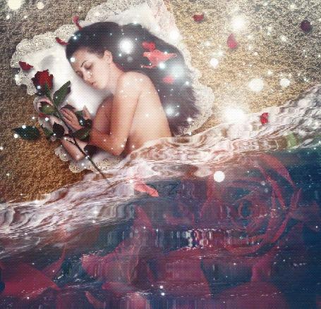 Анимация Спящая с красной розой девушка лежит под одеялом из воды, by DiZa-74