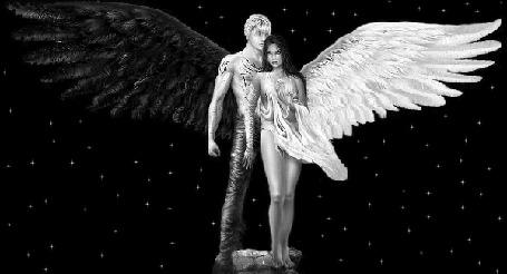 Анимация Парень-ангел с черным крылом и девушка-ангел с белым крылом стоят рядом