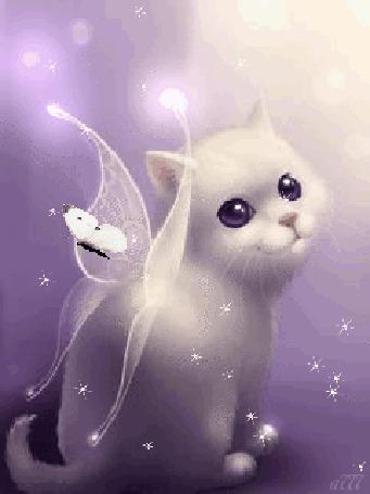Анимация Белый котик с крыльями бабочки на фоне летающих бабочек, by a777