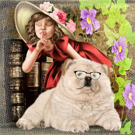 Анимация Девушка в шляпе с цветами, с кудрявыми волосами, в красном платье на фоне книг, цветов и собаки в очках