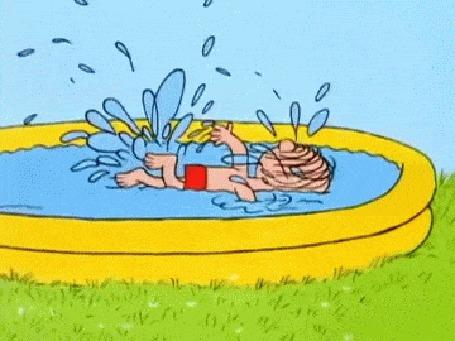 Анимация Мальчик и собака плавают в бассейне