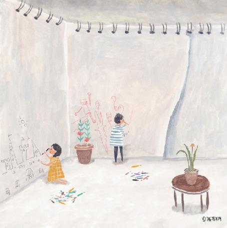 Анимация Девушка и парень рисуют на обоях, by TAGTRAUM