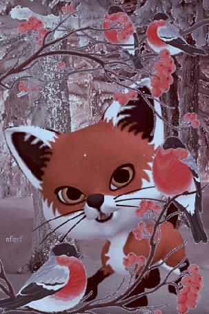 Анимация Лиса смотрит на снегиря сидящего на ветке рябины