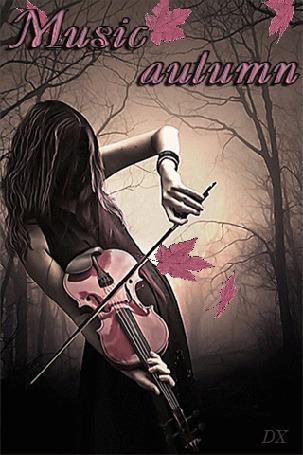 Анимация Девушка в лесу играет на скрипке (Music autumn / музыка осени)