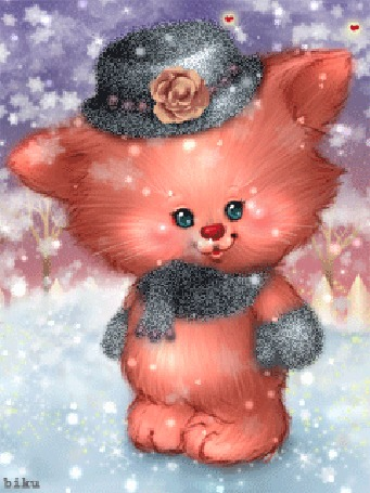 Анимация Рыжий лисенок в шляпе и в шарфе на шее под падающим снегом, dy biki