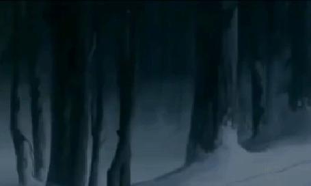 Анимация Фрагмент Disneys Fantasia / Диснеевских фантазий-олень идет по зимнему лесу