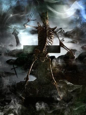 Анимация Скелет вылез из могилы и танцует