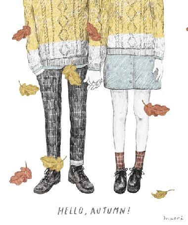Анимация Девушка и парень держаться за руки на фоне падающих осенних листьев (Hello, autumn!/Привет, Осень!), by maori