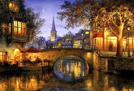 Анимация Вид на вечерний город с мостом через канал, исходник работа художника Евгений Лушпин