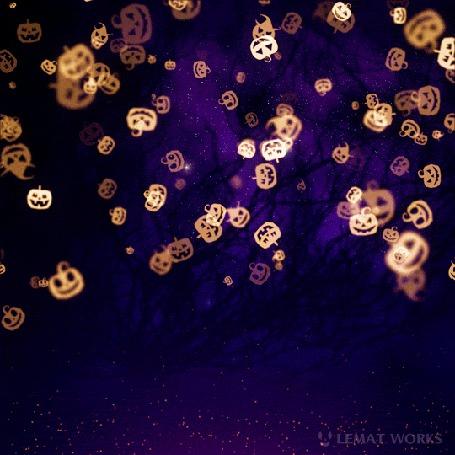 Анимация Падающие светящиеся тыквочки, Happy Halloween / Счастливого Хэллоуина, by Lemat works