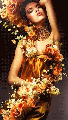 Анимация Девушка украшена цветами
