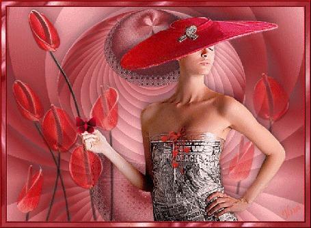 Анимация Девушка в красной широкополой шляпе в одежде их газет на фоне красных тюльпанов, бабочек и сердечек