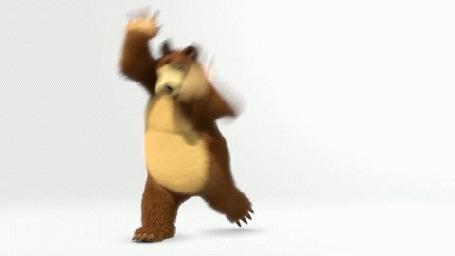Анимация Медведь кувыркается и за ним едит на велосипеде Маша, мультик Маша и Медведь
