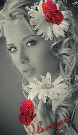 Анимация Девушка с ромашками в длинных светлых волосах на фоне красных бабочек (O love you.)