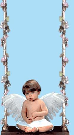 Анимация Ангелок сидит на качелях