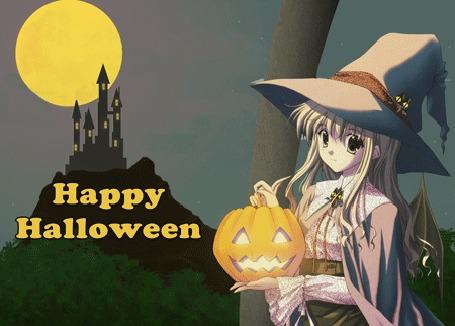 Анимация Девушка в шляпе держит в руках светильник Джека, вдали под полной луной стоит старинный замок (Happy Halloween)