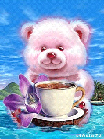 Анимация Медвежонок на фоне моря и неба, чашечки кофе, кокосового ореха и фиолетовой орхидеи, by Akela73