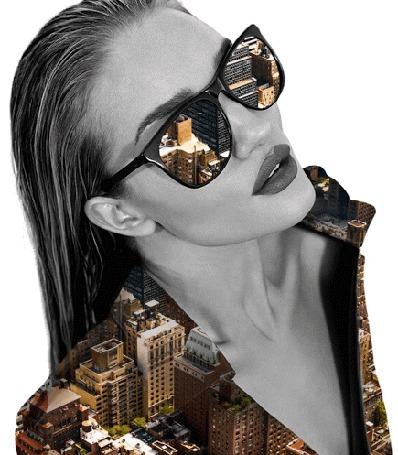 Анимация Девушка в солнцезащитных очках с изображение города в очках и на одежде