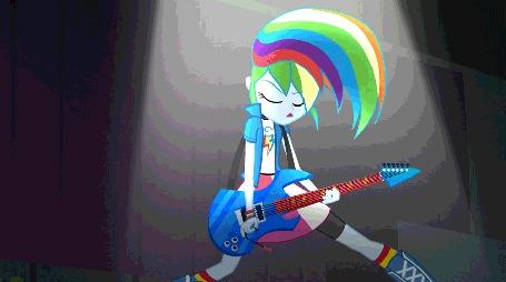 Анимация Rainbow Dash / Рэйнбоу Дэш из мультфильма Мой маленький пони: Девушки Эквестрии Радужный рок / My Little Pony Equestria Girls Rainbow Rocks играет на гитаре и трясет волосами